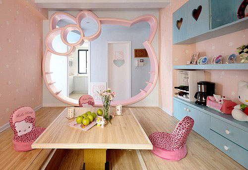 decora interiores y mas habitaciones decoradas con hello kitty. Black Bedroom Furniture Sets. Home Design Ideas