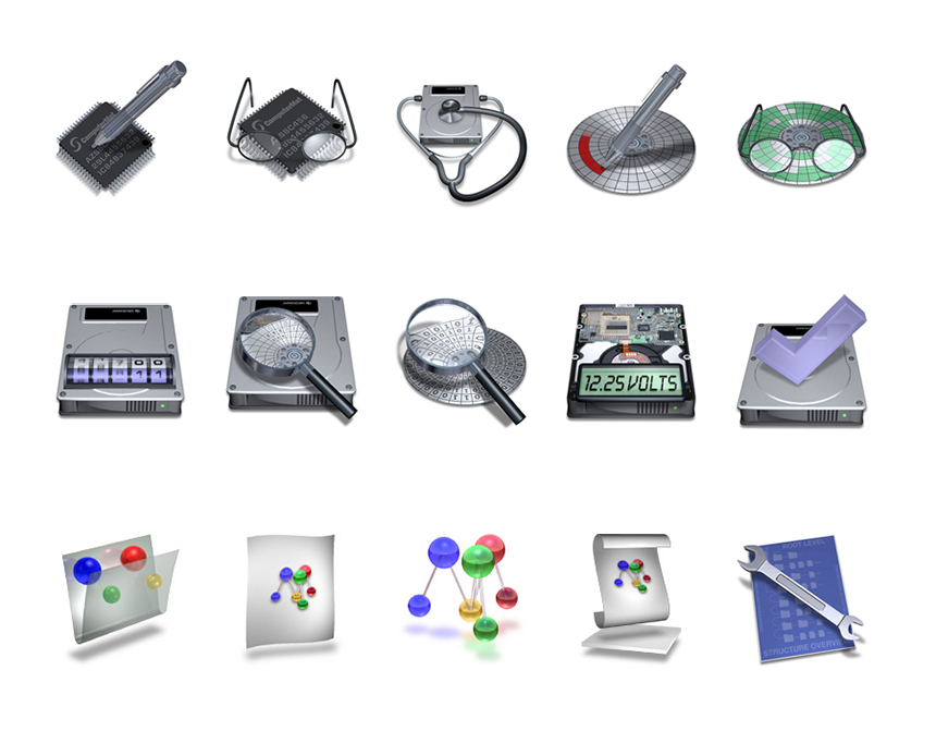 Technical icons for Mac OS X Desktop Utility App — Techtool Pro by Micromat