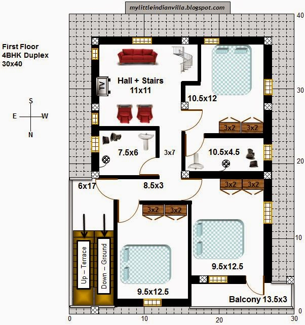 My little indian villa 50 r43 4bhk duplex in 30x40 for House plans for 30x40 site