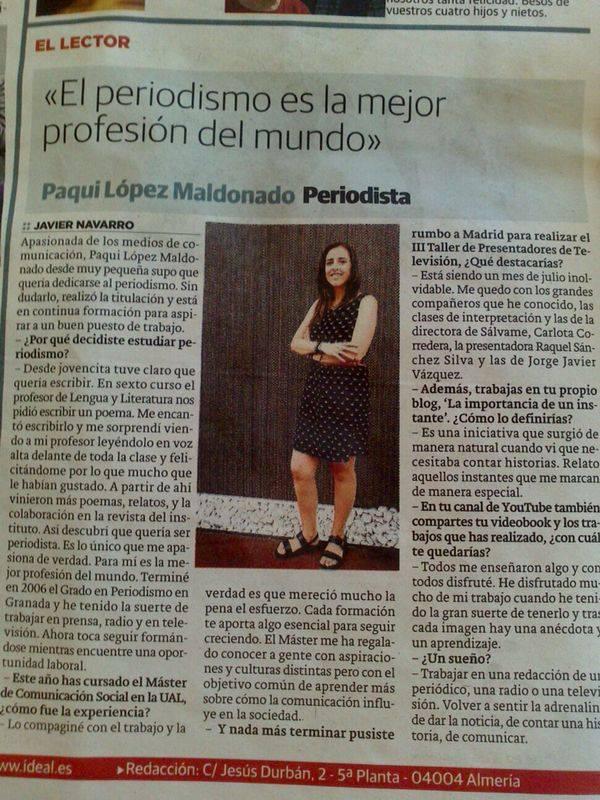 Entrevista para Ideal Almería