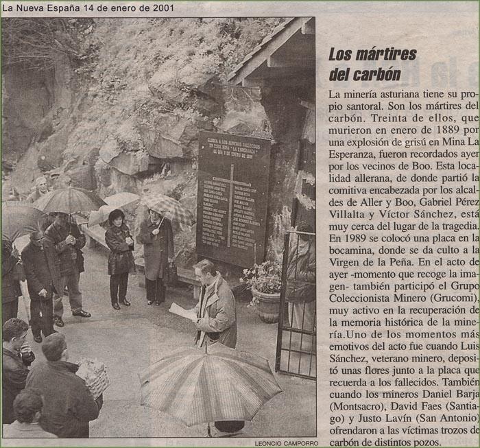 Homenaje a los mineros de Mina Esperanza, Boo de Aller
