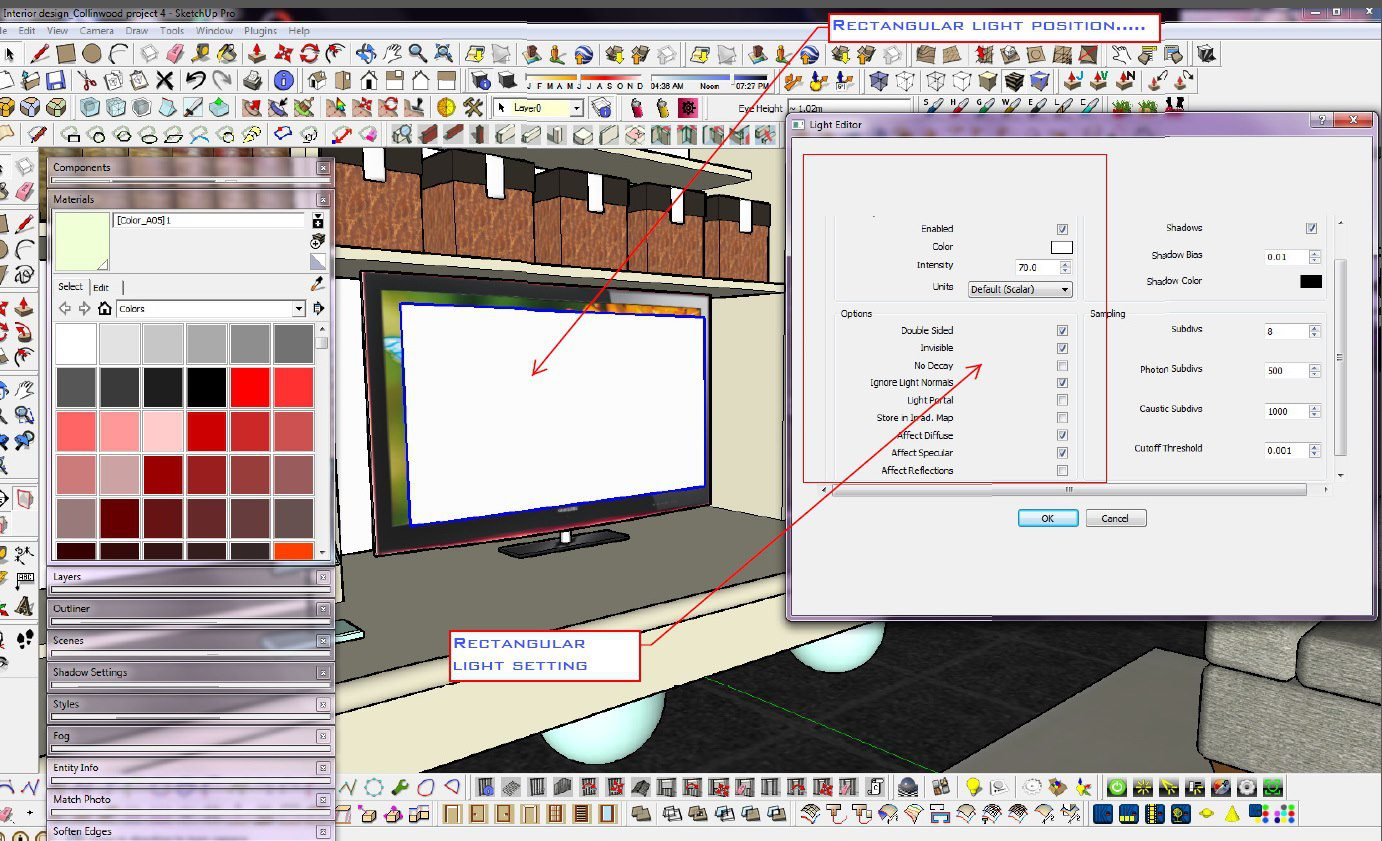SKETCHUP TEXTURE TUTORIAL VRAY FOR SKETCHUP how to light the TV