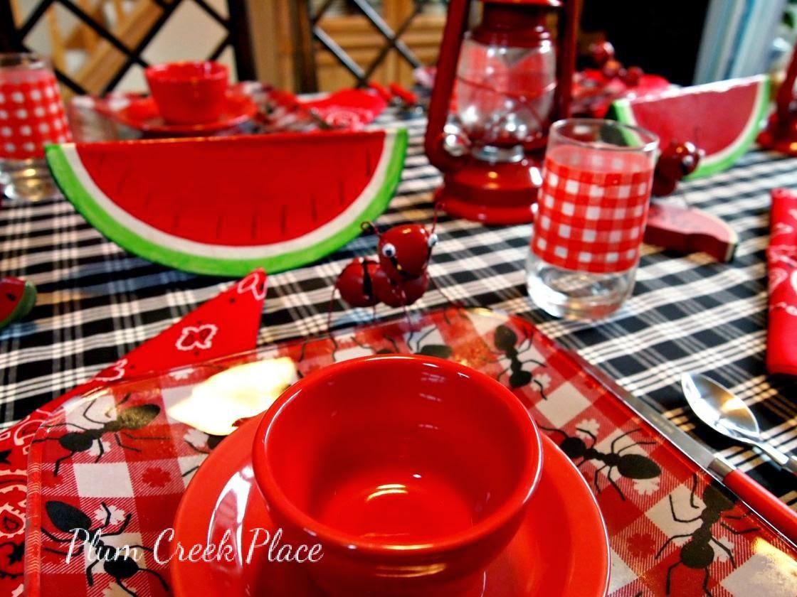 Jingle bell ants, summer picknic table setting, gingham checks