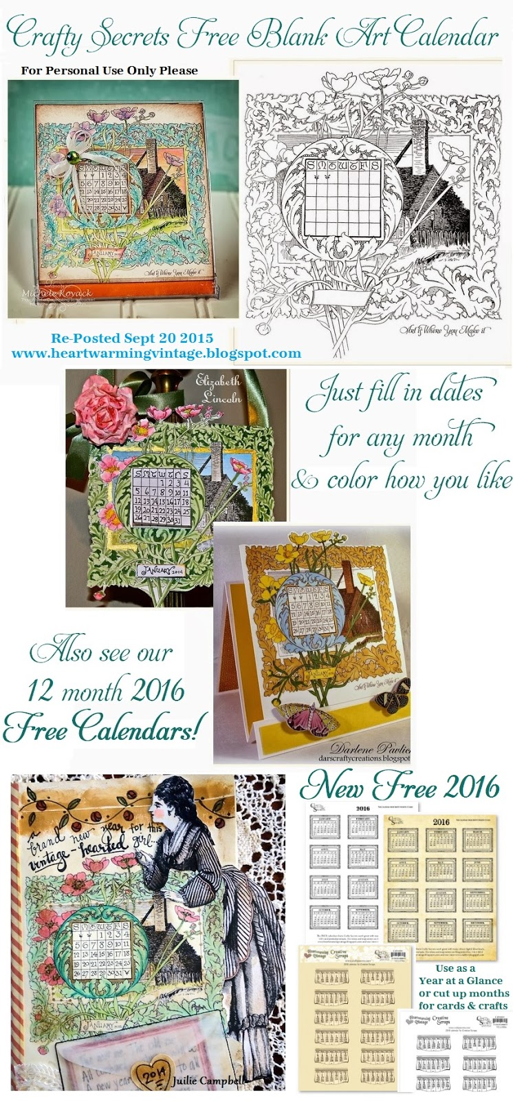 Art Calendar Template : Crafty secrets heartwarming vintage ideas and tips free