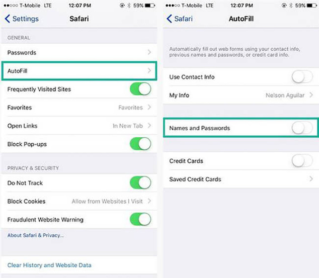 Manage and remove stored passwords in iOS Safari browser