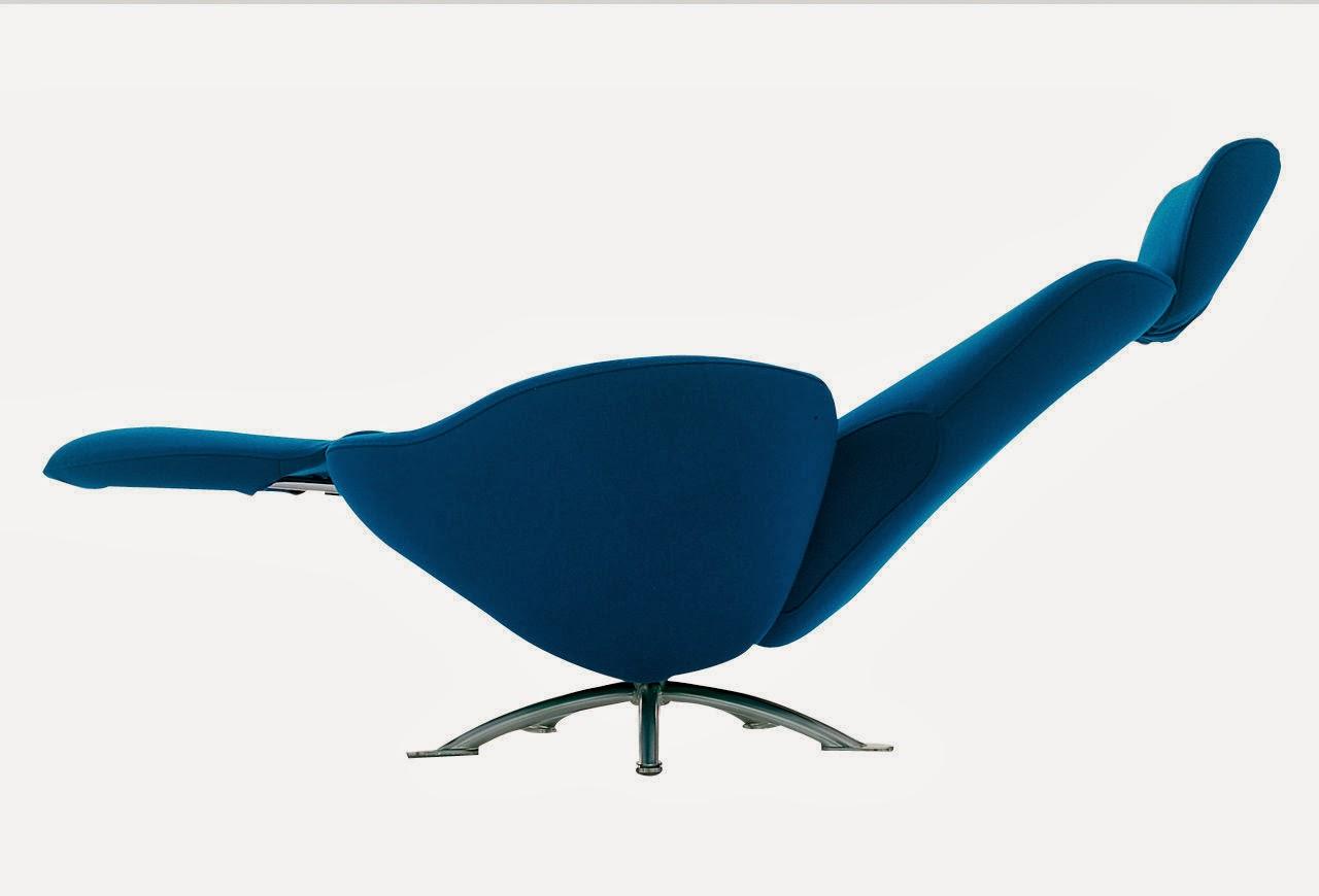fauteuil bleu moderne inclinable