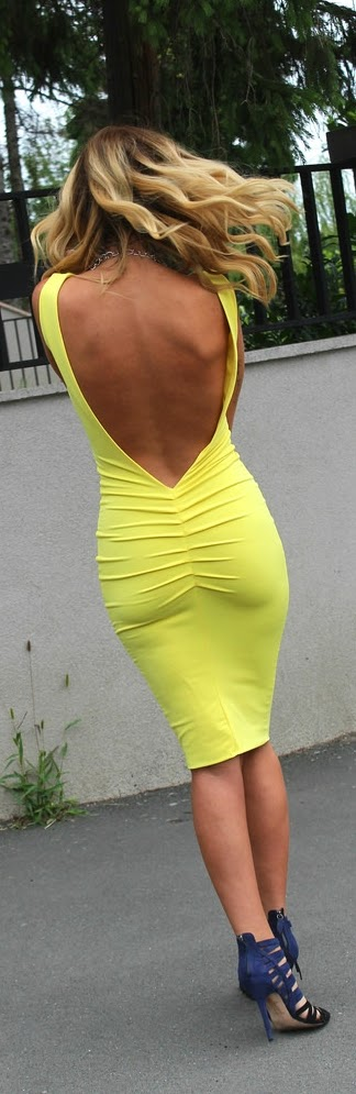 Yellow the Pop Color Sexy Open Back Dress with Love Shoes | Chic Street Outfits