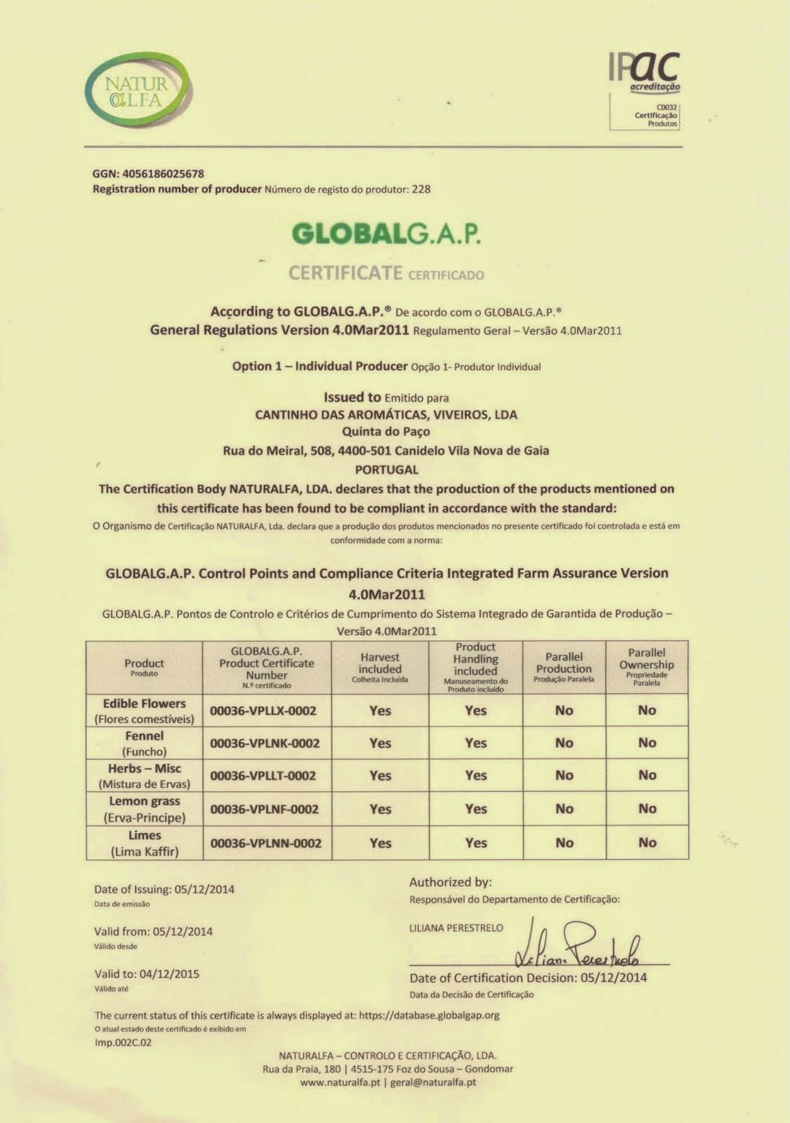 Certificado GlobalGap 2015