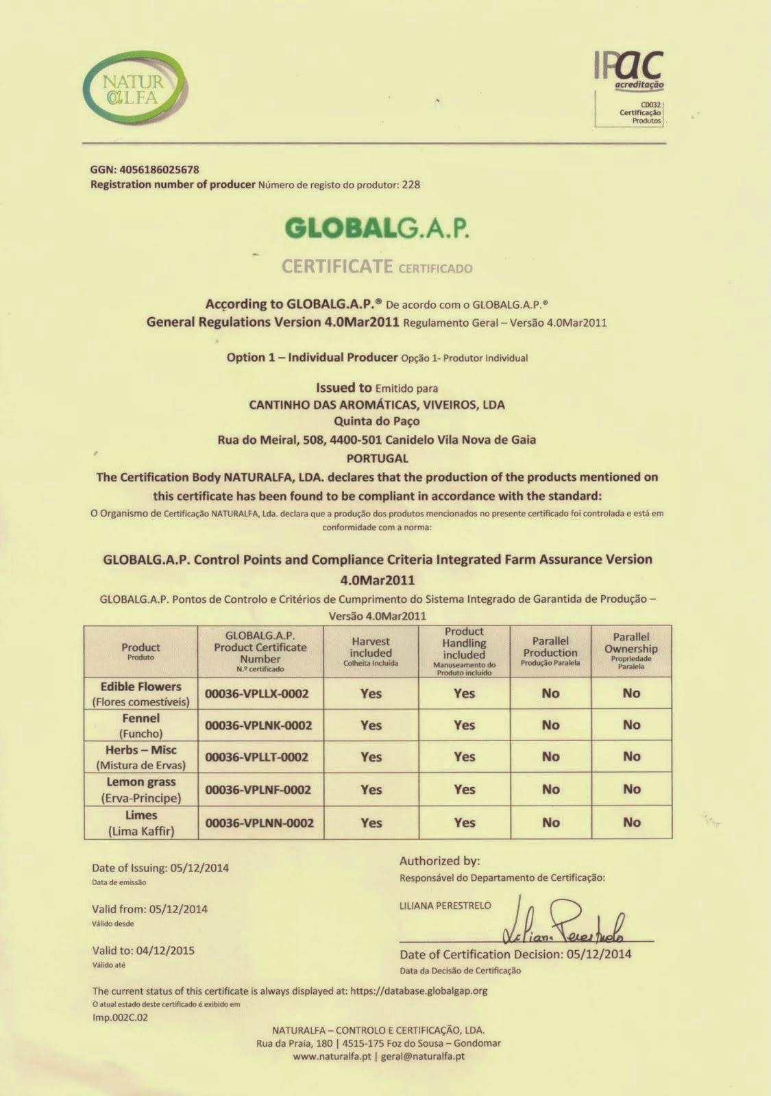Certificado GlobalGap 2015