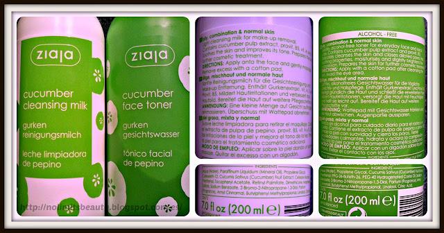 Ziaja - leche limpiadora y tónico facial de pepino (detalle e ingredientes)