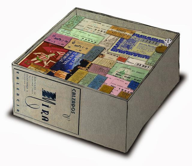 caja de zapatos, billetes, loteria, entradas, dibujo, efimera, Museo Etnologia Valencia