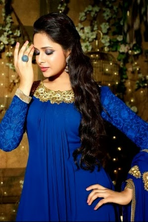 Royal Blue Long Frock Designs