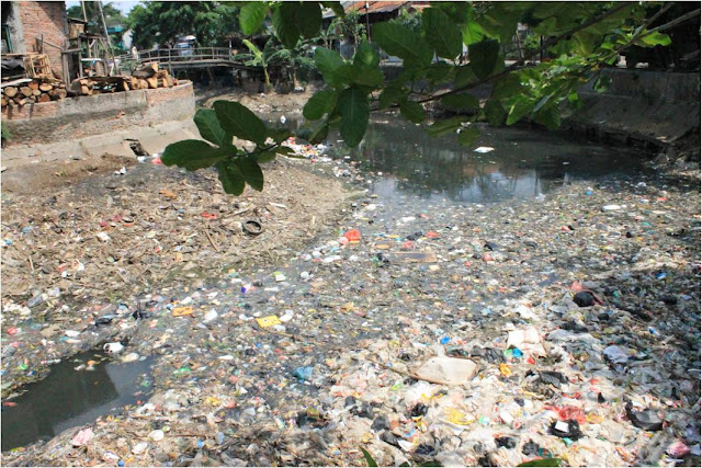 Picture: one of the polluted river and full of trash
