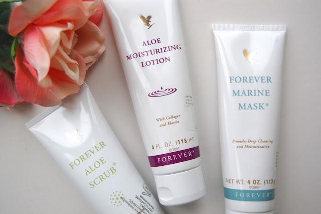 Forever Living, Aloe Moisturizing Lotion, Aloe Scrub, Marine Mask