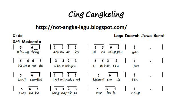 Not Angka Lagu Cing Cangkeling | Kumpulan Not Angka Lagu