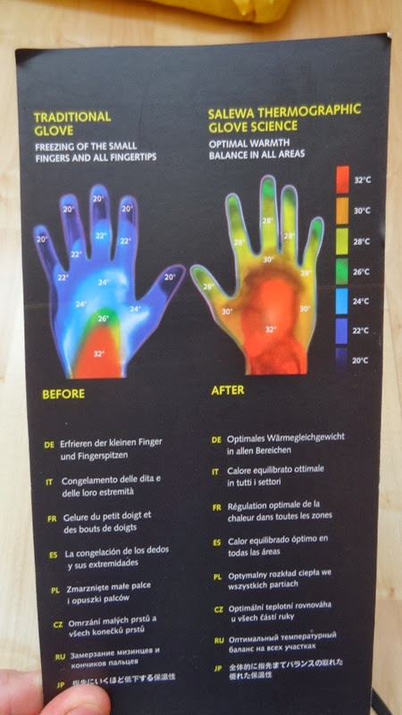 Heat map for palm and fingers - Salewa Gore Tex mitt