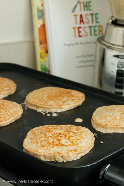 """Skinny"" Pancakes #recipe www.the-taste-tester.com"