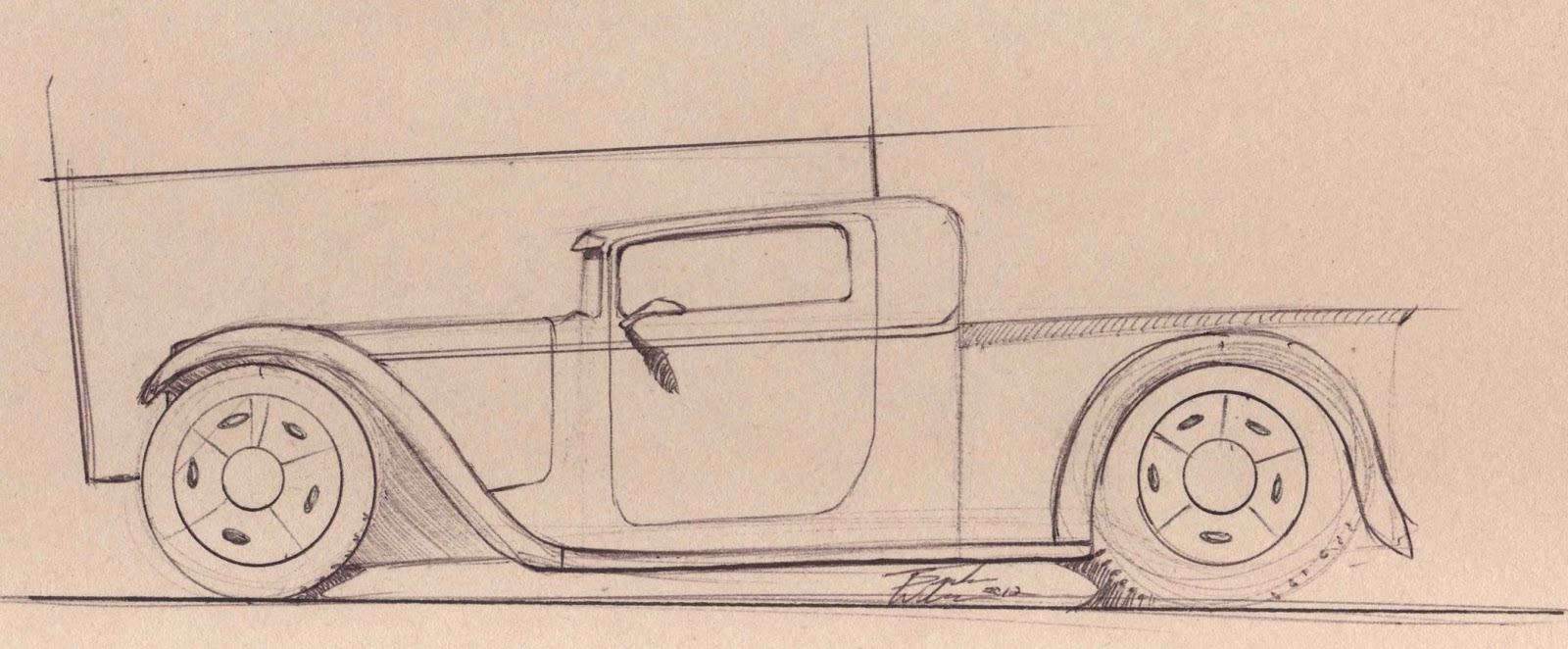 1932 ford truck sketches for a 1932 ford hot rod pick up