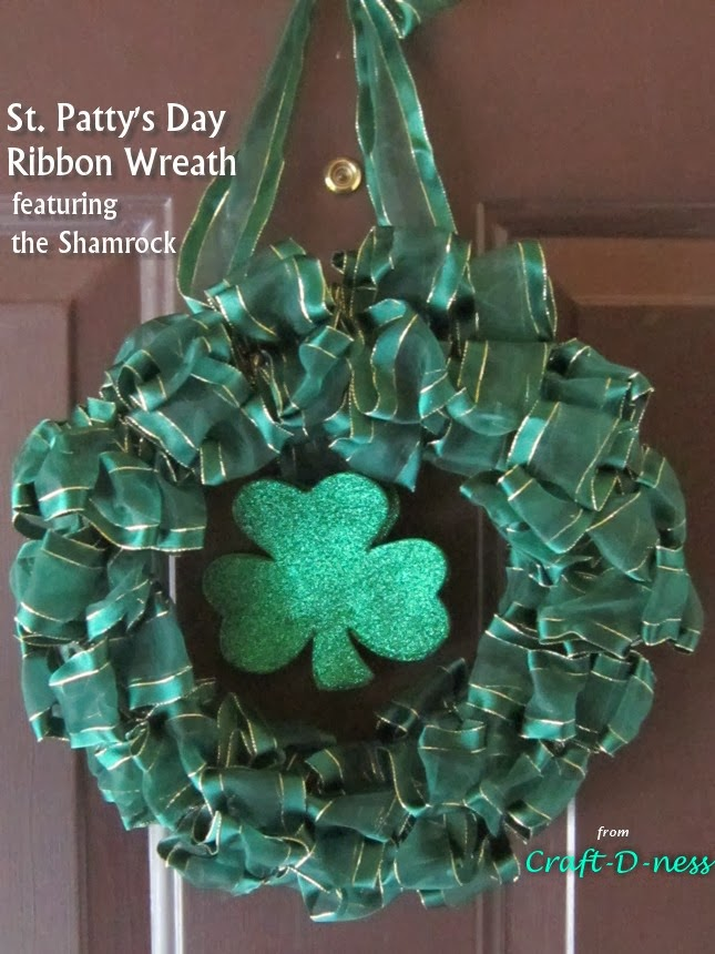 St. Patrick's Day Ribbon Wreath featuring the Shamrock