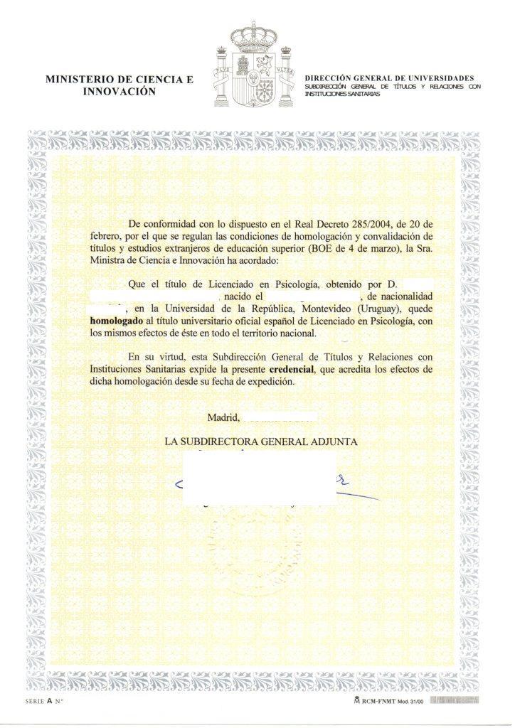 homologacion en espana: