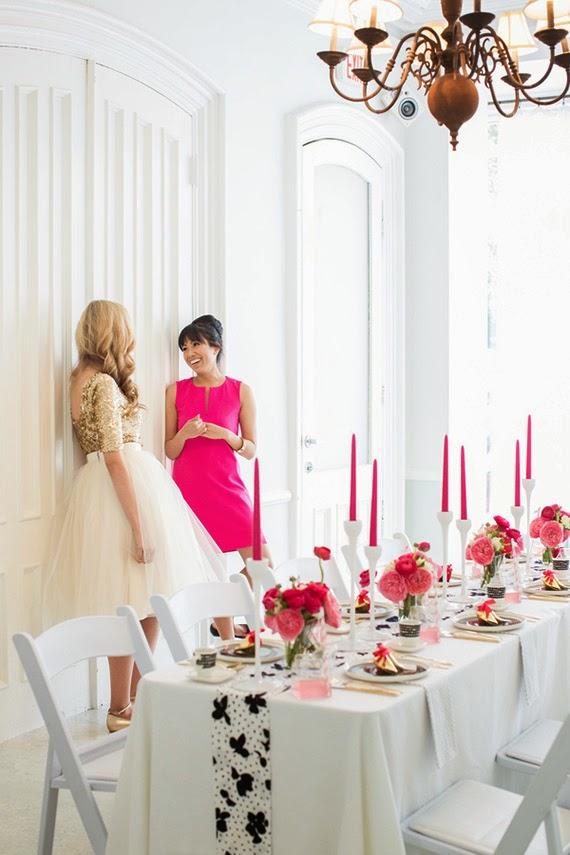 Fiesta de chicas en rosa - La mesa preparada