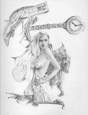 Dolobo Drawing, fantasy art, figurative drawing graphite