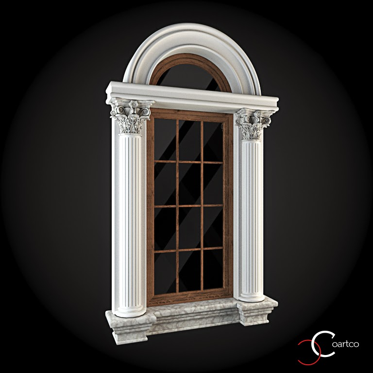 Ornamente Geamuri Exterior, Arcada fatade case cu profile decorative polistiren, profile fatada,  Model Cod: WIN-027