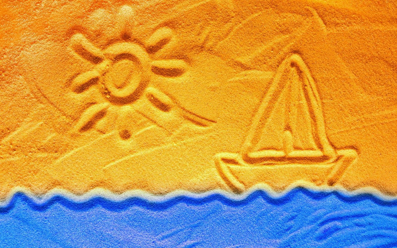 Wallpaper met boot van zand