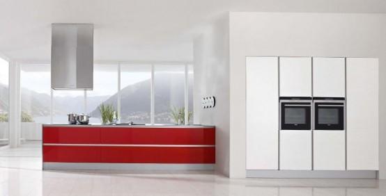 Decoracion X Cocina Moderna con matices Rojo y Blanco de Doimo Cucine