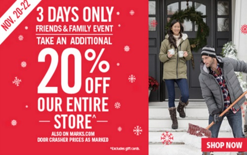 Mark's Friends & Family Event 20% Off Entire Store