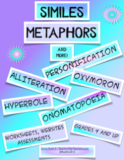 photo of Similes, Metaphors and More, pdf, figurative language, teacherspayteachers.com, Ruth S.