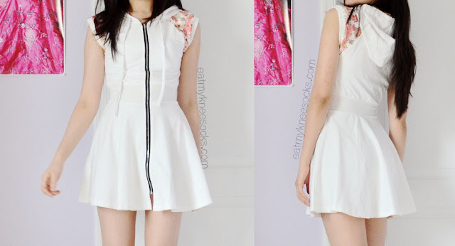 Front and back views of the ulzzang-style floral lace hooded zip-up dress from Romwe.