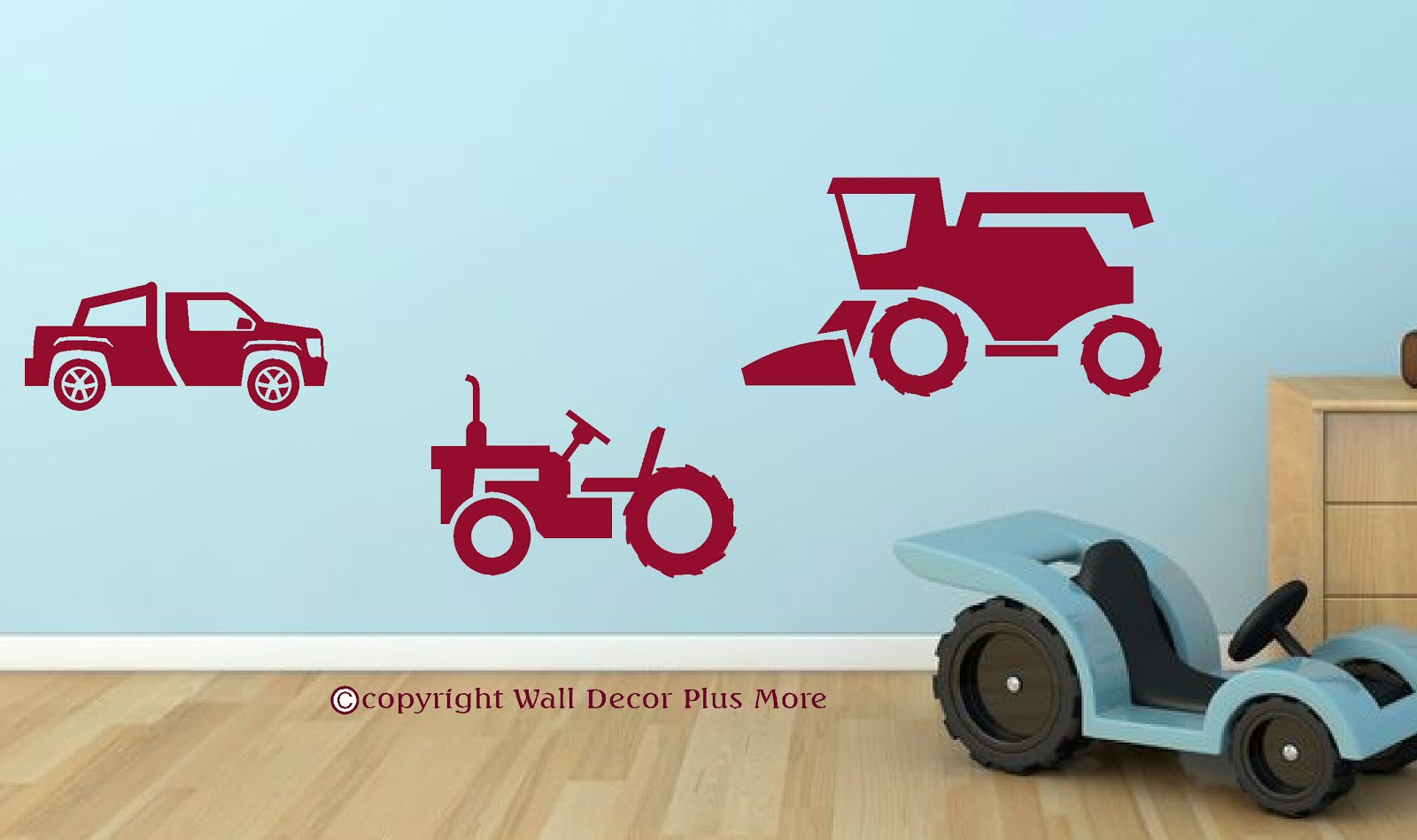all about wall decals for the home got a little farm boy in your family or just a little guy who loves tractors the vinyl wall sticker shown above is red affixed to a light blue wall