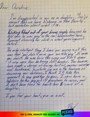 Dad disowns daughter Letter