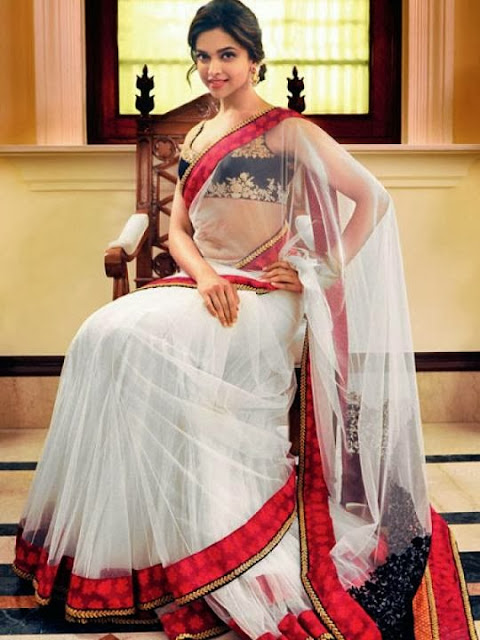 Deepika Padukone in White and Red Net Sari Pics
