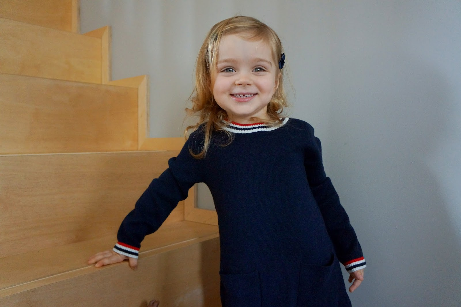 jacadi girl winter 2015 french preppy children's fashion wool dark blue dress white and red accents