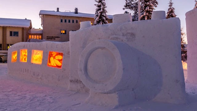 An Outdoor Photo Exhibition Built Into a Giant Snow Camera and Film Sculpture, photography news