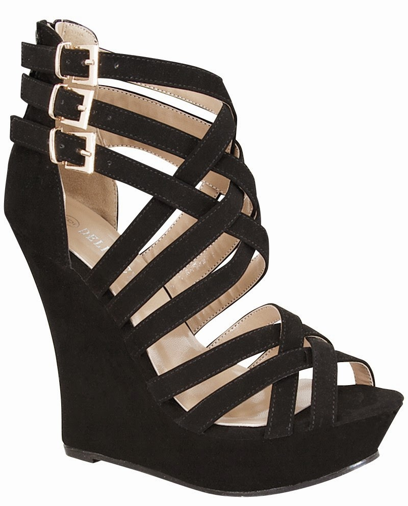 Black wedge sandals 2 inch heel - Black Strappy Wedges