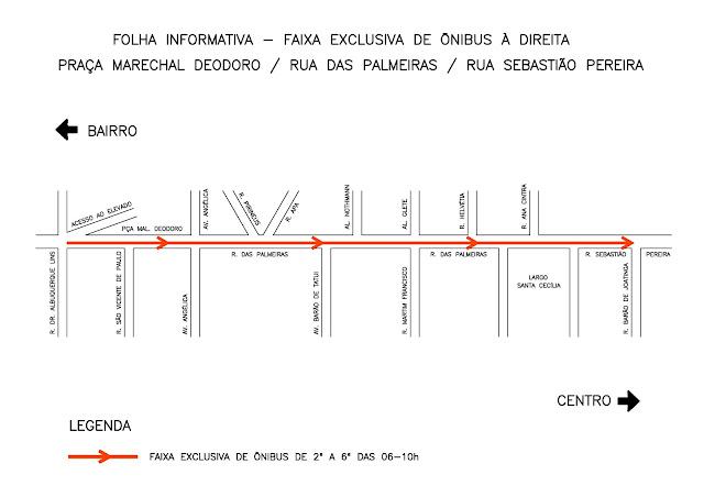 Faixa exclusiva à direita para ônibus na Rua das Palmeiras