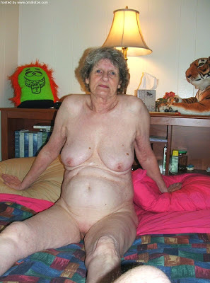 grey hair granny posing