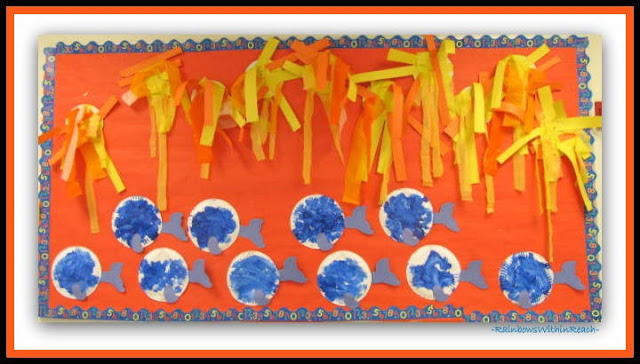 "photo of: Summer Bulletin Board of Crepe Paper Sunshines and Fingerpainted Fish at ""PreK+K Sharing"""