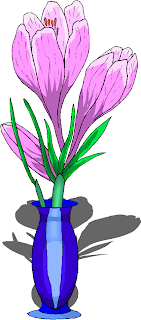 Purple Flowers in a Blue Vase Clipart