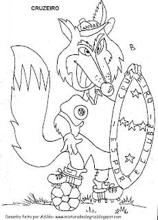 Desenhos Preto e Branco A Raposa e jogador com taça da copa Colorir