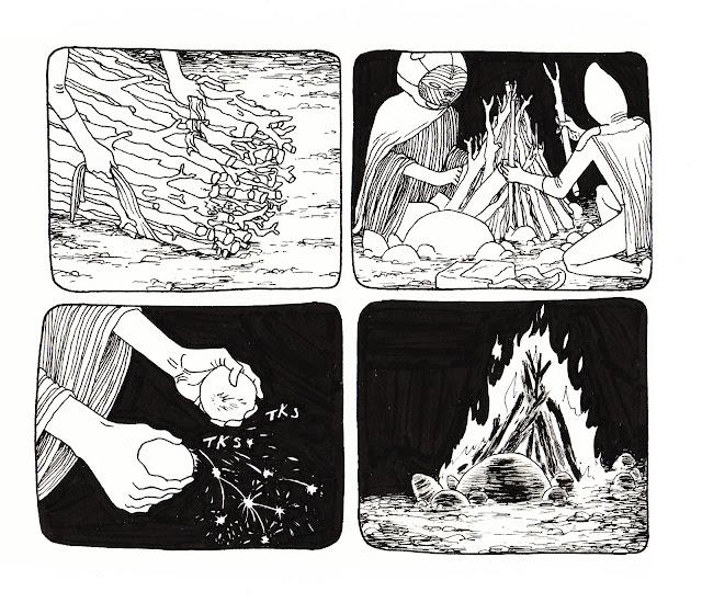 tinder sparks campfire flint