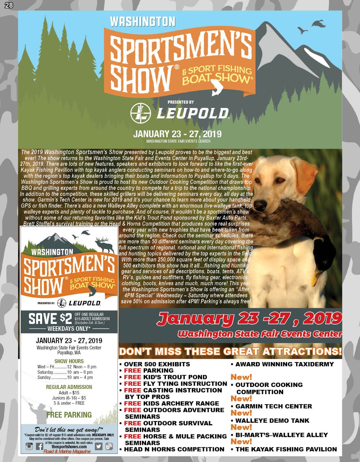 Get Your Washington Sportsmen's Show & Sport Fishing  Boat Show Discount Tickets Here!!