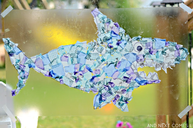 Giant shark suncatcher craft - perfect craft for an under the sea preschool unit from And Next Comes L