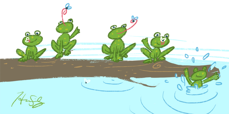 five little frogs on a log