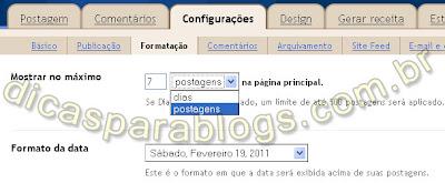 configurações do blogger - formatação