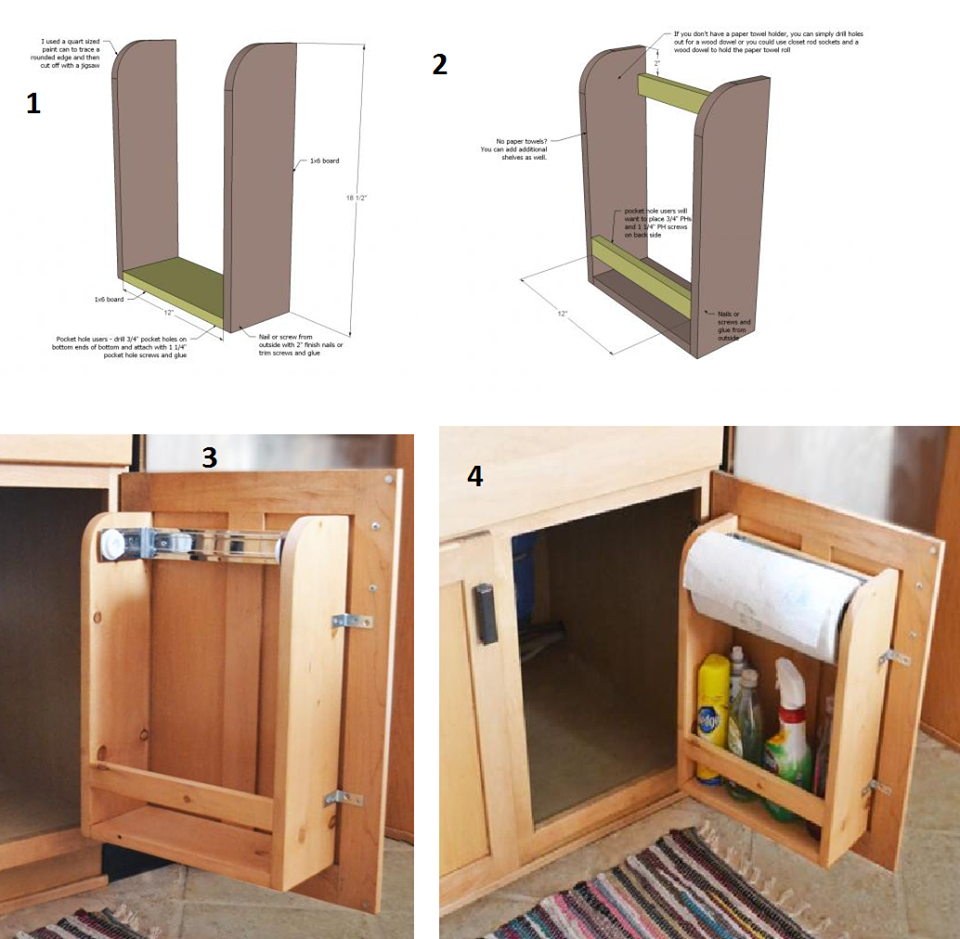 Amazing Creativity How To Make A Kitchen Cabinet Door Organizer With Paper Towel Holder For