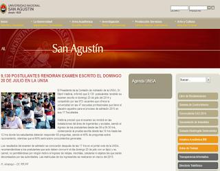 Resultados examen UNSA 2015 Fase I, ingresantes exámen universidad San Agustin 20 de Julio